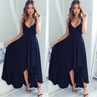 Wholesale simple hi lo prom dresses resale online - Simple Style Navy Blue Bridesmaid Prom Dresses Deep V Neck High Low Cheap Formal Evening Party Gowns