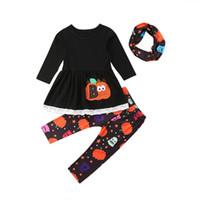 vestido legging niño al por mayor-Niño de Halloween Niños Chica Ropa de moda Manga larga Mini vestido de calabaza + Pantalón largo Legging Bufanda 3PCS Conjunto de ropa Conjunto