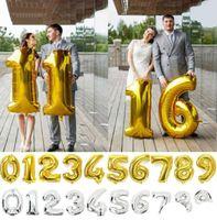 ballons d'aluminium mariage mylar achat en gros de-40 '' articles de fête fournitures de mariage enfants faveurs helium nombre infantile feuille ballon or / argent 90cm ballons mylar décoration