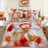 Wholesale 3d oil painting bedding 4pcs - 2016 Home textile New style Charming ink oil painting 3D cotton printing flowers 4pcs set bedding sheet duvet cover pillowcase Queen