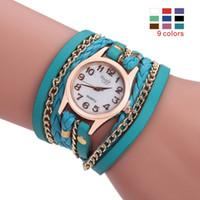 reloj multi color mujer al por mayor-reloj de cuarzo pulsera de moda perfecta Sloggi las mujeres - tejida tres bobinas, Piel artificial de múltiples capas de correa de hebilla de metal 9 colores.