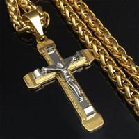 peça prata homem colar venda por atacado-Witaya crucifixo cruz colar de ouro / prata tom de aço inoxidável cadeia para homens jóias jesus pedaço