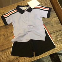 Wholesale Striped Shirt Kids - 2018 Hot girls boys Summer suit Clothes 100% cotton handsome Kids Clothing Set T shirt+pants high quality
