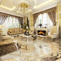 Wholesale Marble Wall Paper - European Style 3D Floor Tiles Mural Marble Wallpaper Living Room Hotel Wear Non-slip Waterproof Self-adhesive Luxury Wall Papers