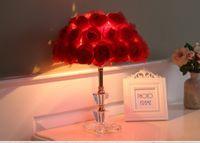 lâmpadas de mesa de casamento venda por atacado-Foyer leitura sentado sala de estar princesa mesa de casamento levou candeeiro de mesa rosa flor casamento luz da mesa de cristal candeeiro de mesa