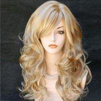 ingrosso parrucche evidenziate marrone-Parrucca di moda Parrucca ondulata per donna