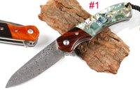 high-end damast taschenmesser groihandel-Neue High End Pocket Klappmesser Damaskus Klinge Ebenholz oder Shell Griff Campingausrüstung Sammlung Messer beste Geschenk