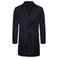 veste de tranchée armée achat en gros de-Printemps Automne Coton Mode Poche Droite Long Mâle Casual Veste Hommes Coupe-Vent Trench-Coat Noir Armée Vert PlusSize