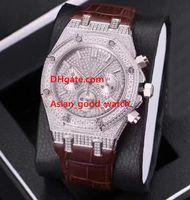 relojes de estilo japonés al por mayor-Señoras 4 Estilo Reloj de moda 26068BC.ZZ.D002CR.01 37MM VK Cuarzo Completa incrustación de diamante Marcar movimiento japonés Cronógrafo Reloj de mujer Relojes