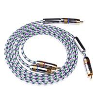 hochwertige rca kabel großhandel-2 Teile / los Hifi Rca Kabel 6N OFC 2 - Stecker auf 2-male RCA Stereo Audio Kabel Hohe Qualität Audio Kabel