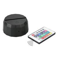 batterie leuchtet großhandel-7 RGB Lichter LED Lampensockel 10 LEDs IR Fernbedienung AA Batteriebehälter 3D Optische Lampen Touch Switch Neuheit Beleuchtung Tischlampe Großhandel