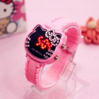 ingrosso gatto rosa caldo-2018 Hot LED Children Watch ciao kitty Diamond Digital Orologio KT Cat Candy Color Pink Girl Student Caton Watches