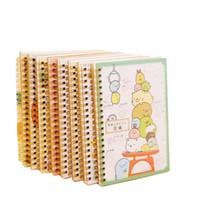 blocos de notas coloridos da coreia venda por atacado-8 pçs / lote bonito New cartoon coreia rilakkuma bobina notepad livro diário compilação offce material escolar material