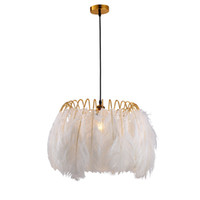 White feather pendant light bedroom restaurant princess boys and girls room  chandelier creative personality Nordic simple warm pendant lamp
