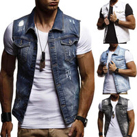 хип-хоп безрукавки оптовых-Summer Ripped Mens Denim Vest Male Tank Top Washed jeans waistcoat Man Cowboy  Hip Hop Sleeveless Jacket
