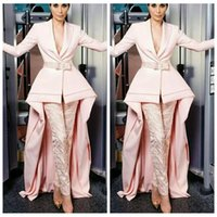 Wholesale ladies two piece evening dresses - Top Sale Formal Ladies Evening Dresses Suit Skirt With Lace Pants Pink Special Long Sleeves 2018 Two Piece Custom Prom Formal Party Gowns