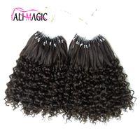 машина для изготовления фигурных оптовых-Наращивание волос Micro Loop 100% Человеческие Микро Бусинки Ссылки Машинного Реми Микро Кольца Наращивание Человеческих Волос 12-26 дюймов Kinky Curly Дешевые