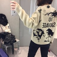 Wholesale Round Neck Sweaters - Brand Designer Women Letters Sweaters 2018 Autumn Winter Fashion Wool Round Neck Back Animals Jacquard Pullovers Casual Oversized Jumpers