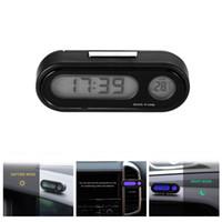 araba termometre saatleri toptan satış-AOZBZ 2 in 1 Araba Dashboard Saat Ayarlanabilir Otomatik Termometre Ölçer Araba Süsleme ile LED Aydınlatmalı