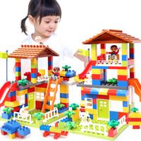 bauen hausblöcke großhandel-89 stücke diy stadt haus dach große partikel bausteine schloss pädagogisches spielzeug für kinder duplo ziegel baby geschenke