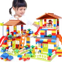 Wholesale building brick block houses toys for sale - Group buy 89pcs DIY City House Roof Big Particle Building Blocks Castle Educational Toy For Children Duplo Bricks Baby Gifts