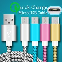Wholesale nylon charger - 1.0M Android micro usb cable Braided nylon USB Charger Cable Data Line Metal Plug Charging for smart phone