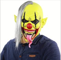Wholesale kids party clowns for sale - Mens Women Kids Clown Latex Masks Ghost Back Scary Devil Vampire Mask With Hair Costume Accessories Halloween Party Bald Funny Masks Cosplay