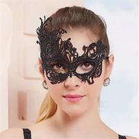 máscaras de encaje negro para bola de mascarada al por mayor-Moda Sexy Lace Eye Mask Máscaras de encaje negro Venetian Masquerade Ball Party Disfraz Disfraz Lady Gifts Party Masks