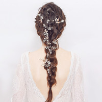 Wholesale celtic crystal headband - pins Gorgeous Golden Leaf Wired Crystal Rhinestone Pearls Flower Wedding accessories Vine Hairband Bridal Headband Hair Pin