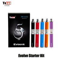 kits ego purple venda por atacado-100% original yocan evoluir starter kit roxo cera caneta vaporizador com 0.8 ohm de quartzo bobinas duplas 650 mAh bateria ego thread atomizador