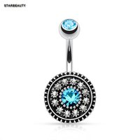 Wholesale belly button chains - 14G Lake Blue Crystal Belly Button Rings Sexy Navel Piercing Ombligo Vintage Flower Navel Piercing Nombril Pircing Septum Ring