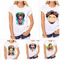 Wholesale ethnic shorts - Frida T-Shirt Kahlo Women Artist Tee Portrait Mexican Ethnic Personal Art New Women's T-Shirt Round Neck Top Tees woman skull t-shirt BBA163