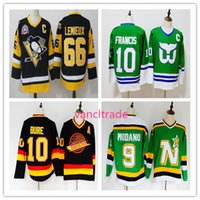 Wholesale Nylon 66 - Top Quality Vintage Hockey Jersey 66 Mario Lemieux Black 10 Pavel Bure Black 10 Ron Francis Green 9 Mike Modano Green All Stitching Jersey