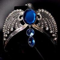antike silberne stirnbänder großhandel-Ravenclaw verlieren Krone Horcrux Braut Haarbänder Antik Silber Eagle Tier Blau Kristall Stirnbänder Hochzeit Haarschmuck