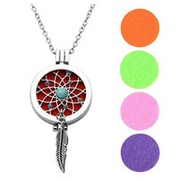 Wholesale turquoise pendant necklace men - 2018 New Pattern DIY Essential Oil Phase Box Pendant Feather Turquoise Necklace Dream Catcher Sweater Chain 5 1yn X