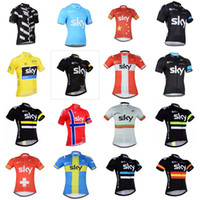 Wholesale cycle jerseys team sky red - 2018 Team Sky Cycling Jerseys Quick Dry Breathable Tour mtb bicycle Shirt High Quality Short Sleeves mountain Bike Tops C2931