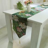 tischläufer textilien großhandel-Europäische Luxus Moderne Lotus Table Runner Tablecloth Tischläufer Flag Dinner Mats Heimtextilien