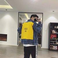 ingrosso giacca gialla denim giacca-BB Yellow Patch Denim Jacket Retro Street Hip Hop Vecchio allentato confortevole uomini e donne amanti Tide Coat HFWPJK075