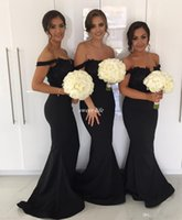 Wholesale Off White Lace Bridesmaid Dresses - Black Mermaid Long Bridesmaid Dresses for Wedding 2018 Off Shoulder Lace Beading Plus Size Guest Formal Evening Gowns Maid of Honor Dresses