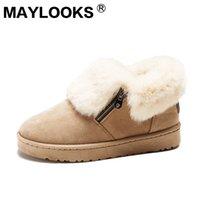 botas de nieve de corte bajo al por mayor-Moda botas de nieve para mujer Botas de nieve para mujer de gamuza cálida con cremallera corta hebilla de metal plataforma zapatos de algodón mujer C2-1