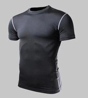 Wholesale Knitted Bodysuit - Quick drying fitness clothing men short-sleeved bodysuit high elastic air speed dry basketball running training T-shirt.
