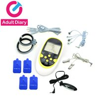 Wholesale sex men shock resale online - Adult Diary Electrostimulation Sex Toys Kits For Men Woman Electro Shock Defibrillator Cockring Nipple Clamps Anal Plug Products D18110101