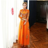 2bf693adf Ancient China Wedding dress bride cheongsam Asian long sleeved  Characteristic wedding dress Overseas Chinese Orange retro toast clothes