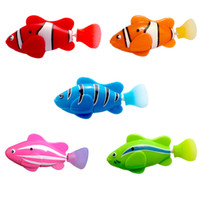 Wholesale electric fishing machine - Swimming Fishes Electric Novel Robofish Emulational Robot Fish Electronic Pets Machine Induction Paddle Clownfish For Baby Bathing 3 3jy Z