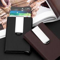 Wholesale automatic wallet - 2018 High QualitId Men Wallets Credit card holder Automatic card sets business aluminum wallet card sets cash metal clip holder