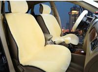 capas de assento preto vermelho para carros venda por atacado-Acessório interior Capa de Almofada Do Assento de Carro de Inverno Conjunto Completo Travesseiro Lã ABB Vermelho Quente Preto Violeta Veludo Cinco Assento Frete Grátis