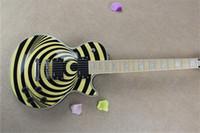 gitarrenkörper zakk wylde großhandel-Brand New Factory Custom Shop Gelb Zakk Wylde Bullseye Mahagoni Korpus Ahorn Griffbrett EMG Pickups E-Gitarre Chrome Hardware