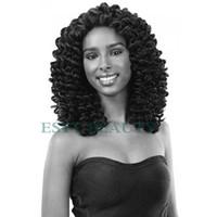 kanekalon al por mayor-Jamaican Bounce Crochet Trenzado Extensiones de cabello Trenzas Jumpy Wand Curls Kanekalon Sintéticos Ombre Colores Hair kanekalon wand curl