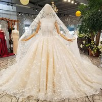 Wholesale champagne wedding dresses veil resale online - Champagne Shiny Wedding Dresses Luxury Tassel Sexy Strapless Tassel Wedding Gowns With Long Train And Wedding Veil Fast Shipping
