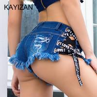 flies off lights 2018 - KAYIZAN Women's Fashion middle waist Casual Denim Booty Shorts with Letter Belt Sexy Cut Off pocket Hot Pants Tassel jeans short